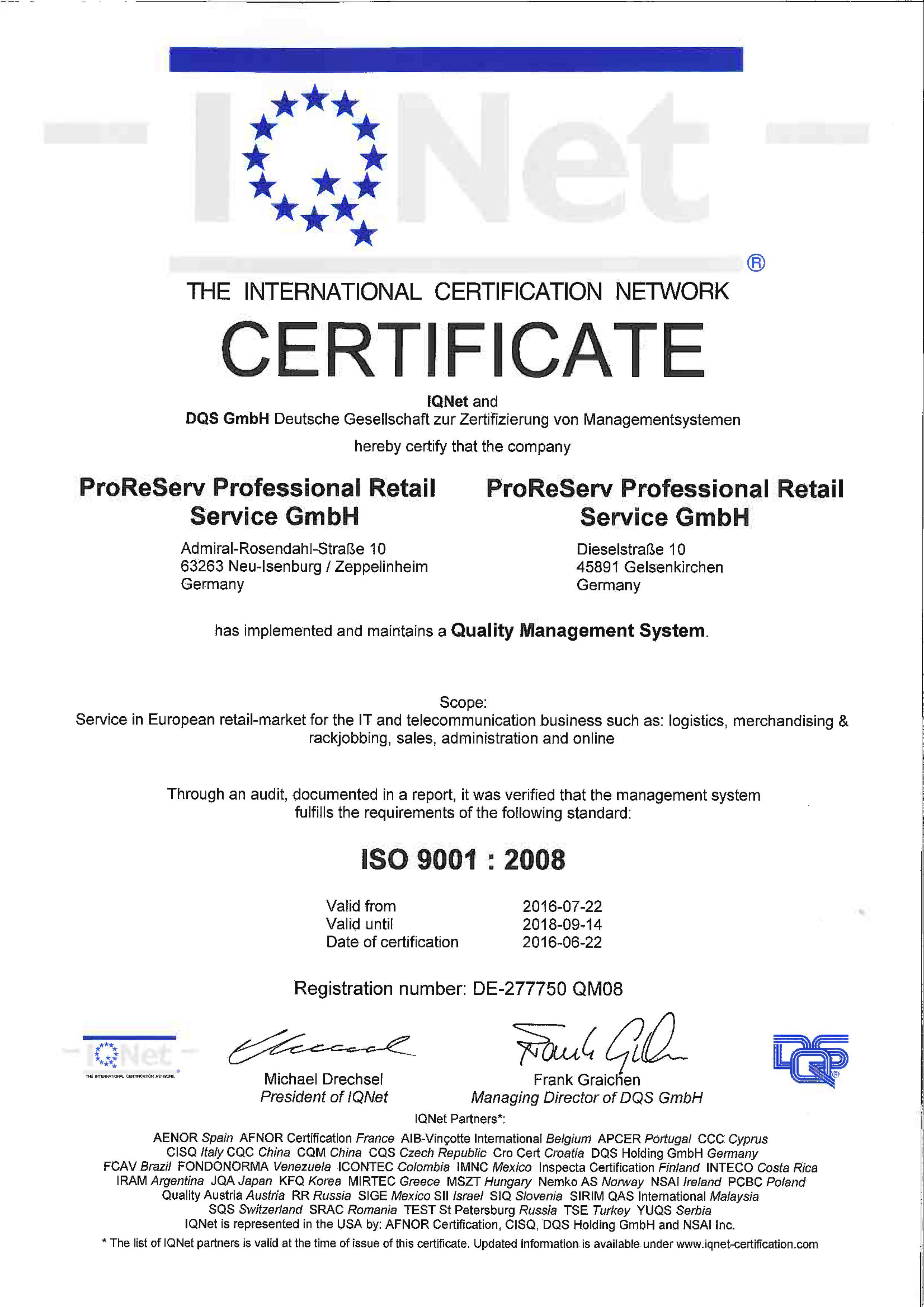 Certificates Professional Retail Service Gmbh Logistik