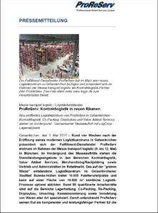 PRS Kontraktlogistik in neuen Räumen 04.05.2017
