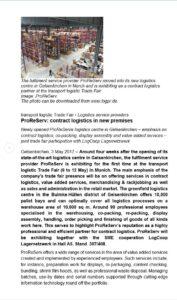 ProReServ: contract logistics in new premises